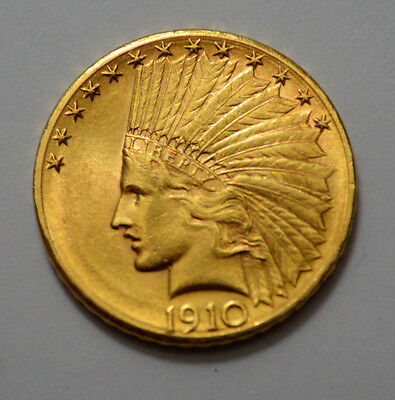 1910-D $10  MS UNC  Indian Head Eagle Gold Coin !