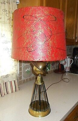 1930s Art Deco Atomic Brass Saturn Table Lamp Caged Base 1933 Worlds Fair Design