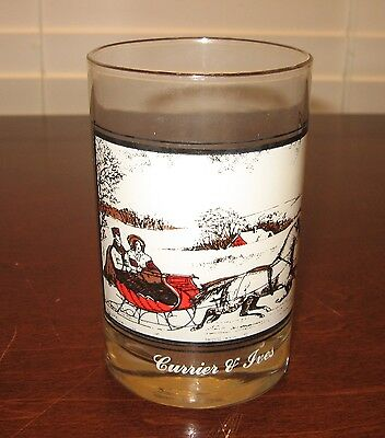 """Arby's Christmas Glass - Currier & Ives The Road In Winter - 4.75"""" Tall - 1978"""
