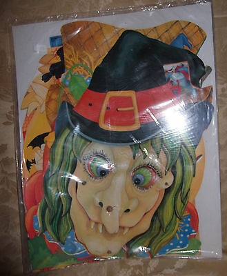 New Vtg HALLOWEEN HOLIDAY Witch DIECUT Paper Decoration Lot 5 Eureka Sealed Mint