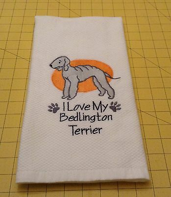 I Love My Bedlington Terrier Embroidered Williams Sonoma Kitchen Towel, XL