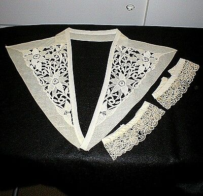 Antique Lace Collar & Cuffs, Cut Work, Embroidery, Floral, Ivory, Gorgeous!