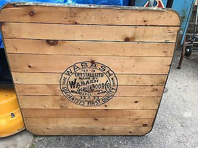 Antique Wood Tin Industrial Table Top Wabash Screen Door Co Stove Door Fireboard