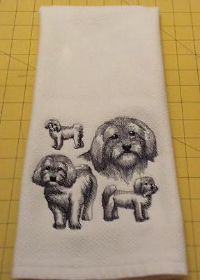 Havanese Collage Embroidered Williams Sonoma Kitchen Towel, XL