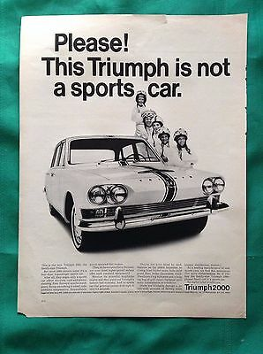 1965 Vintage Lot Automobile Magazine Ads ~ Triumph 2000 & TR-4