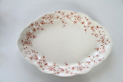 """Antique Ironstone Platter Arcadia WH Grindley Pink Flowers Oval 18"""""""