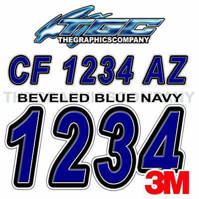 Bevel Blue Navy Custom Boat Registration Numbers Decals Vinyl Lettering Stickers