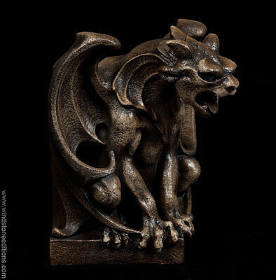 """Windstone Editions """"the Critic"""" Gargoyle Bookend Mythical Figurine Statue"""