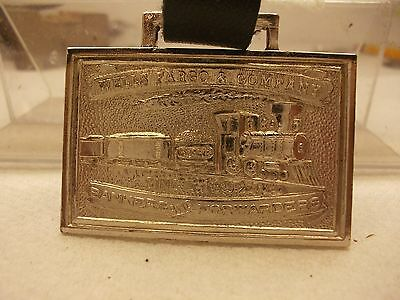 Vintage,silver Plate,wells Fargo&co.watch Fob,+Leather Strap,excellent Condition