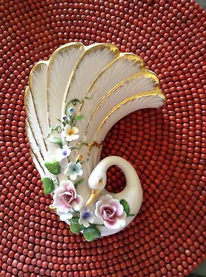 Vintage Porcelain Swan Art Deco Style With Delicate Flowers Wall Vase