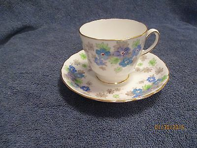 Plant Tuscan China Chintz Teacup and Saucer Blue + Purple with Gold Trim NICE