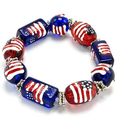 Vintage Patriotic Bracelet U S Flag Glass Lampwork Beads Stretch Red White Blue