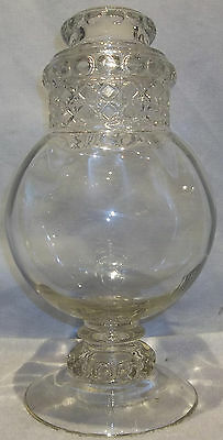 "Large 15"" Vintage Dakota Apothecary Jar Thumbprint Pattern Glass Show Globe"