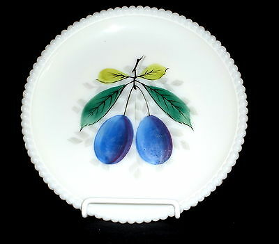 """Westmoreland BEADED EDGE FRUITS PLUMS *7 1/4"""" SALAD PLATE*BE-17"""