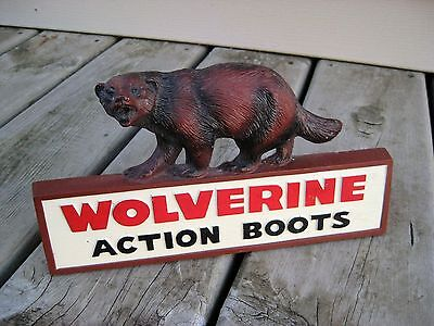 Vintage Wolverine Action Boots Counter Top Sign with Easel Back / Rare!!