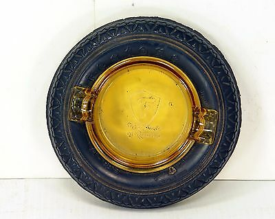 """Nice Different Vintage Firestone Tire & Rubber Co. Ashtray with Amber Glass 5.5"""""""