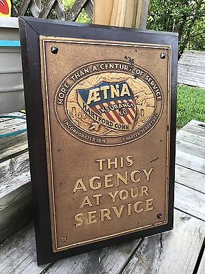 Antique Vintage Old AETNA Insurance Sign Advertising