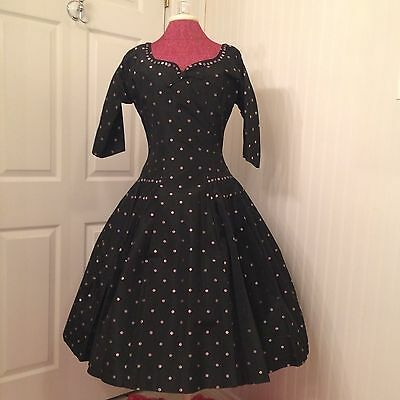 vintage 1950's R and K party dress full skirt black with pink polka dots