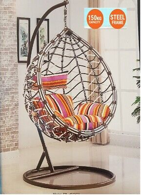 New Hanging Swing Egg Chair Outdoor Brown & White Basket & Colourful Cushion