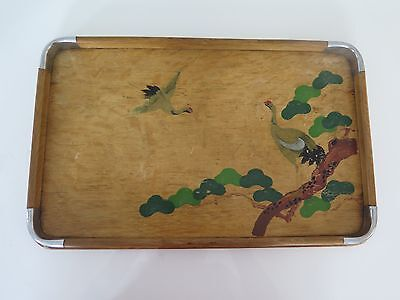 Vintage Wooden Hand Painted Serving Tray 15.75 Inches By 10 Inches