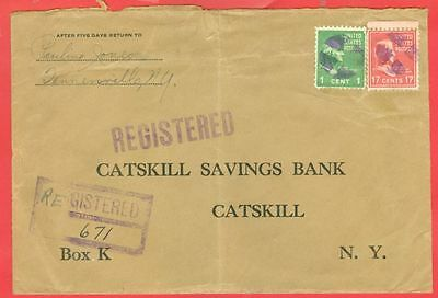 USA Prexie Prexy 17c + 1c used on Registered cover 1941