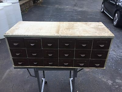 library catalog cabinet Card Wood Wooden 18 Drawer Vintage School Large