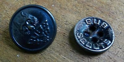 Rare Early Set Of 2 Cub Scout Uniform Brass Buttons - Excellent Condition Scarce