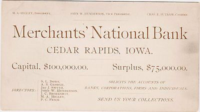 Rare 1890 Business Card Merchant's National Bank Cedar Rapids Iowa Ia M Higley