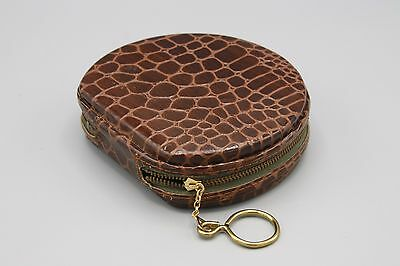 Vtg Zipped Wallet Faux Croc Key Holder Bill Fold Mirror Coin Sorter Round