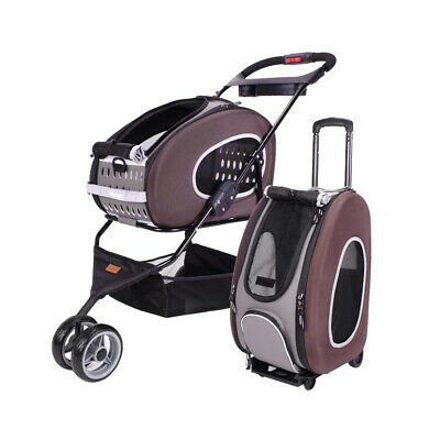 Ibiyaya 5-in-1 Combo EVA Pet Cat or Small Dog Carrier / Stroller - Chocolate