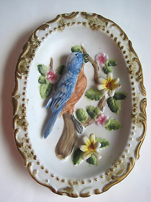 Bluebird Small Oval Porcelain Wall Plaque Blue Bird Tree Branch Flowers Ornate
