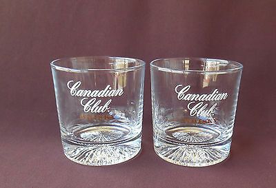 CANADIAN CLUB WHISKY Glasses Lowball Rocks STARBURST DESIGN Set of 2