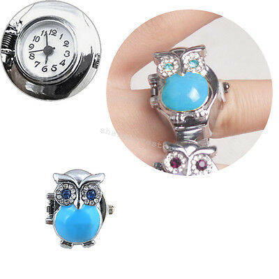 Fashion Retro Owl Finger Clamshell Ring Watch Women blue elastic Watchband 6 cm