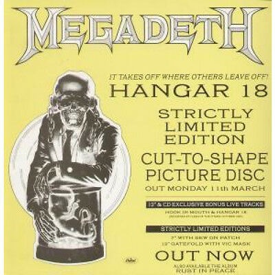 MEGADETH Hangar 18 CARD 12 X 12 Inch Shop Display Card For Picture Disc Release