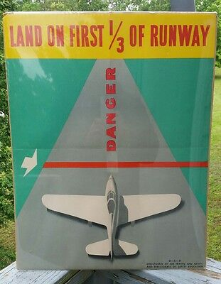 Vintage Rare WWII Dictorate of Air Traffic and Safety Airplane Landing Poster