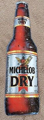 Michelob Dry Bottle Metal Tacker Beer Sign