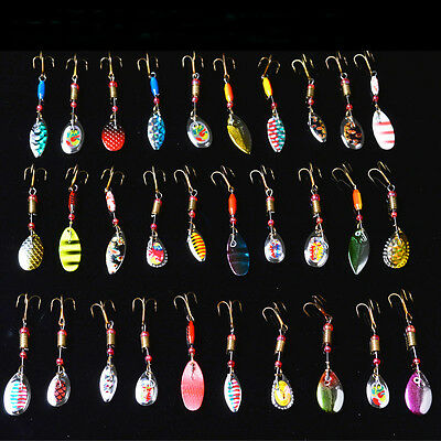 Lot 30pcs Kinds of Trout Spoon Metal Fishing Lures Spinner Crankbait Hook Baits