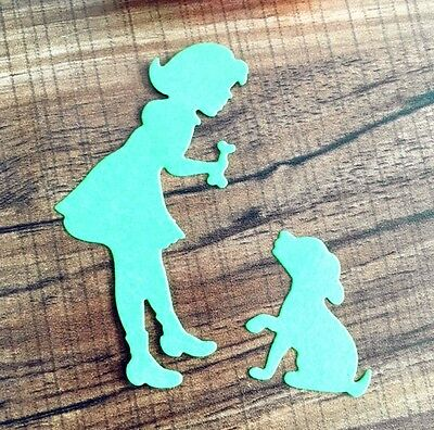 Unbranded quality metal cutting die GIRL AND PUPPY ww Cuttlebug / Sizzix