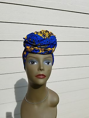 Blue & Yellow Head wrap;Blue African Headwrap; African Clothing; African Fabric