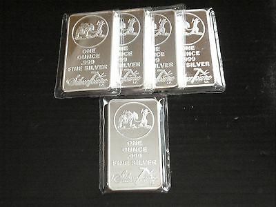 5) SilverTowne 1 oz .999 Silver Clad Art Bars ~ Silver Plated