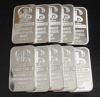 10) Northwest Territorial Mint 1 oz .999 Silver Clad Art Bars ~ Silver Plated