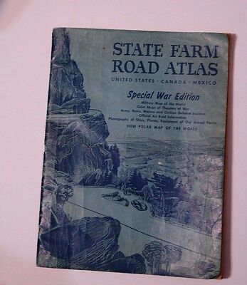 Vintage State Farm Road Atlas 1943 Special War Edition, Military Maps, Photos