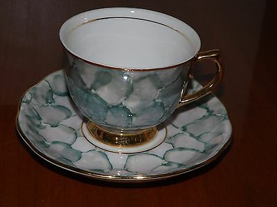 Vintage Green Sponge Style Tea Cup And Saucer - Made In Romania
