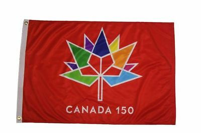 """Canada 150 RED Commemorative flag banner 1867-2017! 2 x 3ft 24x36"""" NWT! LOOK!"""