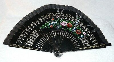 "Espana Hand Fan with Cloth Case  ~ 9"" X 17"" ~ Painted Flowers"