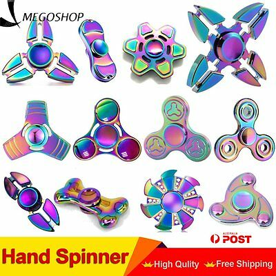 3D Rainbow Fidget Hand Spinner Finger EDC Focus Stress Reliever Toy Kids Adult O