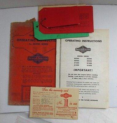 Vintage Briggs & Stratton 4 Cycle Gasoline Engines Operating Manual W/Envelope+