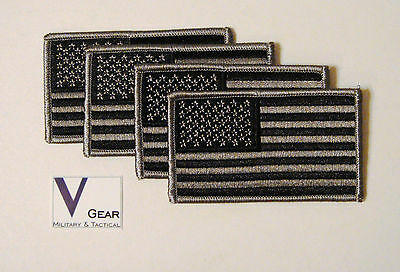 US USA American Flag patch SUBDUED BLACK and GRAY  **LOT of 4**