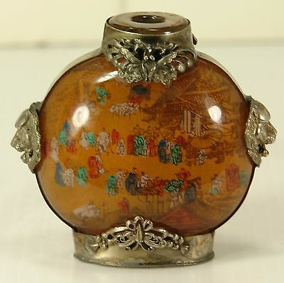 Antique or Vintage Chinese Asian Reverse Painted Glass Snuff Bottle Tin Decorate