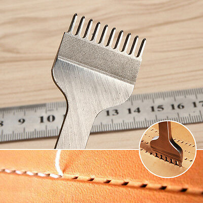 Leather Craft Tools Hole Chisel Graving Stitching Punch Tool Set 3mm 10 Prong UK